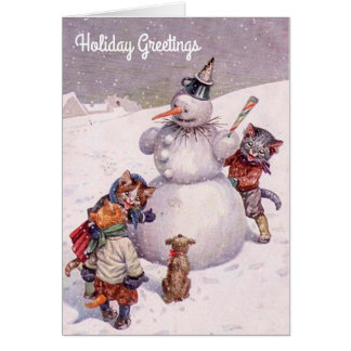 Vintage Christmas Card, Snowman & Cats Card
