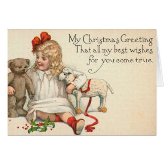 Vintage Christmas Card with Little Girl