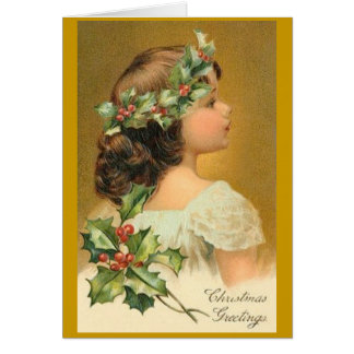 Vintage Christmas Card with Victorian Girl