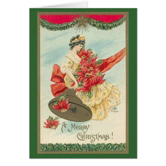 Vintage Christmas Card with Victorian Woman