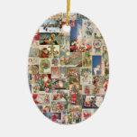 Vintage Christmas Cards Holiday Pattern Ceramic Oval Decoration
