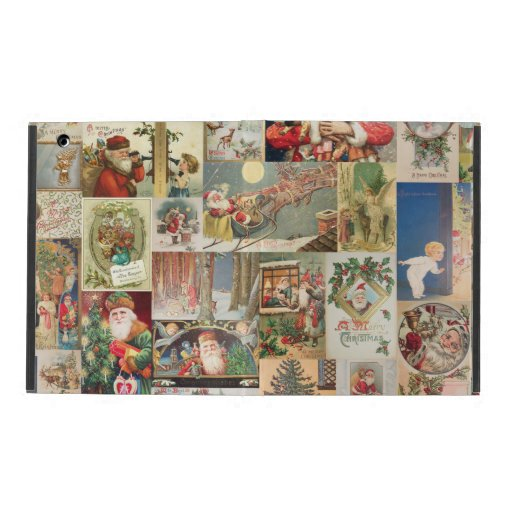 Vintage Christmas Cards Holiday Pattern iPad Cases