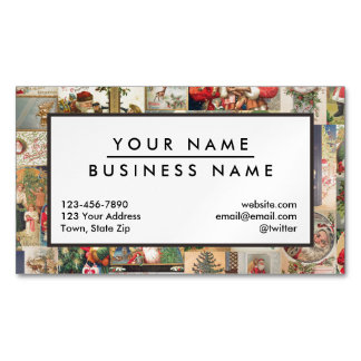 Vintage Christmas Cards Holiday Pattern Magnetic Business Cards