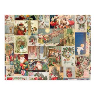 Vintage Christmas Cards Holiday Pattern Postcard