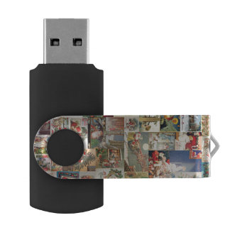 Vintage Christmas Cards Holiday Pattern Swivel USB 2.0 Flash Drive