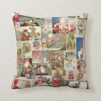 Vintage Christmas Cards Holiday Pattern Throw Pillow