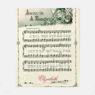 "Vintage Christmas Carol, ""Away in A Manger"", Cozy Fleece Blanket"