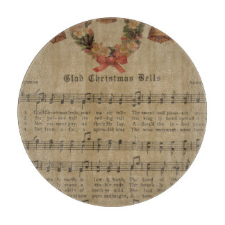 Vintage Christmas Carol Music Sheet Cutting Board