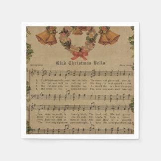 Vintage Christmas Carol Music Sheet Disposable Serviette