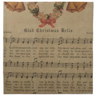 Vintage Christmas Carol Music Sheet Napkin