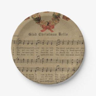 Vintage Christmas Carol Music Sheet Paper Plate
