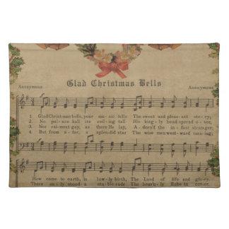 Vintage Christmas Carol Music Sheet Placemat