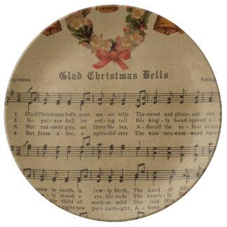 Vintage Christmas Carol Music Sheet Plate