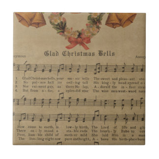 Vintage Christmas Carol Music Sheet Tile