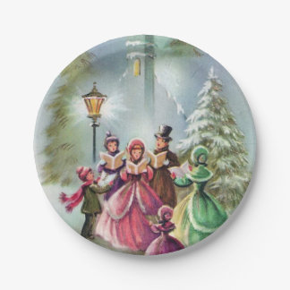 Vintage Christmas Carolers party plate