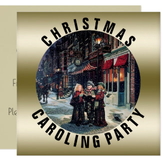 Vintage Christmas Caroling Party | Gold Victorian Card