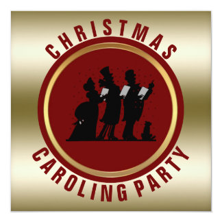 Vintage Christmas Carols Holiday Party | Gold Red Card