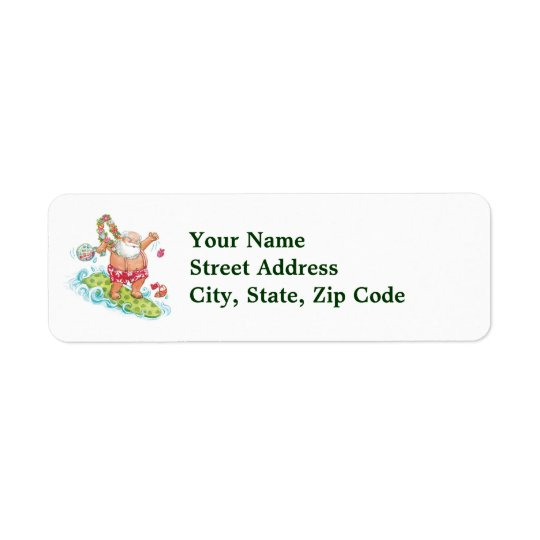 Vintage Christmas Cartoon Surfing Santa Claus Return Address Label