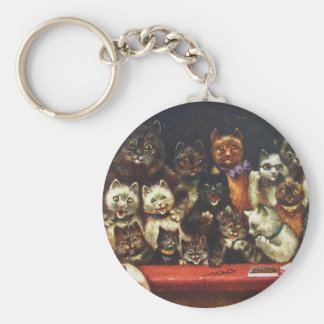 Vintage Christmas Cat Family - At the Play Key Ring