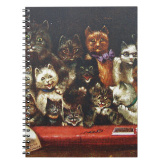 Vintage Christmas Cat Family - At the Play Spiral Notebook