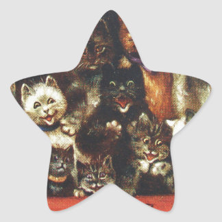 Vintage Christmas Cat Family - At the Play Star Sticker