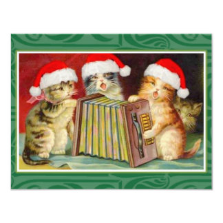 "Vintage Christmas Cats 4.25"" X 5.5"" Invitation Card"