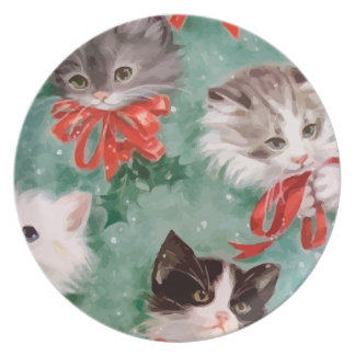 Vintage Christmas Cats Plate