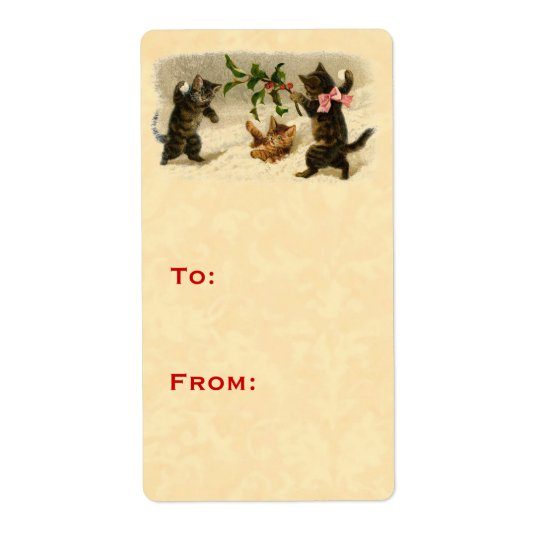 Vintage Christmas Cats Snowball Fight Gift Tag V09 Shipping Label