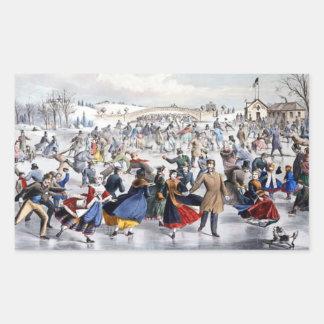 Vintage Christmas Central Park Ice Skaters Rectangular Sticker