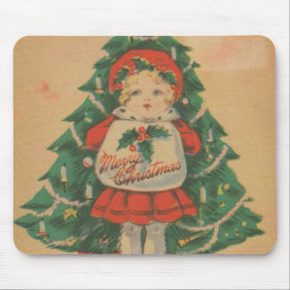 Vintage Christmas Child  infront of Tree Mouse Pad