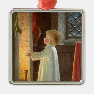 Vintage Christmas, Child Warming by the Fireplace Metal Ornament