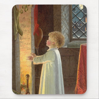 Vintage Christmas, Child Warming by the Fireplace Mouse Pad