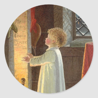 Vintage Christmas, Child Warming by the Fireplace Round Sticker