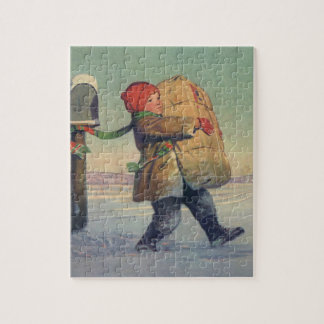 Vintage Christmas, Child with Large Package Jigsaw Puzzle