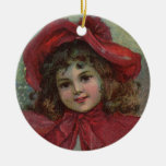 Vintage Christmas child with red Victorian Dress Round Ceramic Decoration