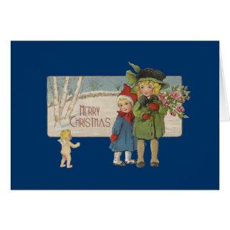 Vintage Christmas Children and Cherub Art Print Card