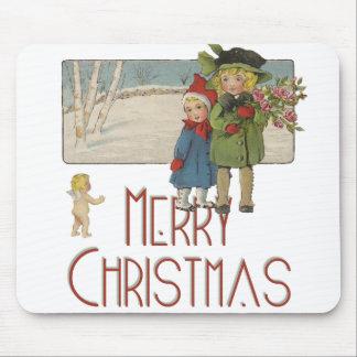 Vintage Christmas Children and Cherub Art Print Mouse Pad