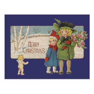 Vintage Christmas Children and Cherub Postcard