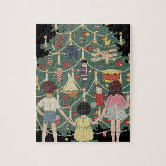 Vintage Christmas Children Around a Decorated Tree Jigsaw Puzzle