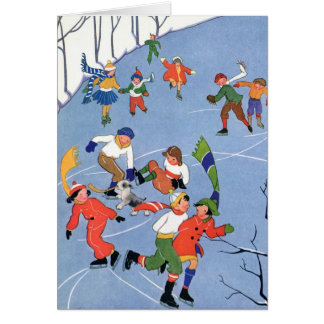 Vintage Christmas, Children Ice Skating on a Lake Card