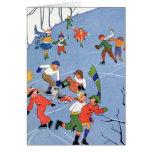 Vintage Christmas, Children Ice Skating on a Pond Card