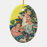 Vintage Christmas, Children Opening Presents Christmas Ornaments