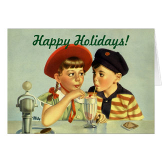 Vintage Christmas, Children Sharing a Shake Card