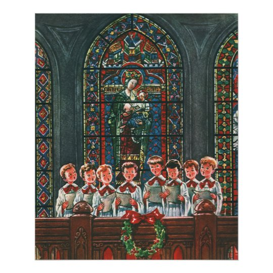 Vintage Christmas Children Singing Choir in Church Poster