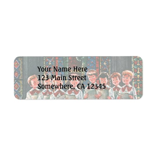 Vintage Christmas Children Singing Choir in Church Return Address Label