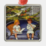 Vintage Christmas, Children Sitting on a Couch Ornament