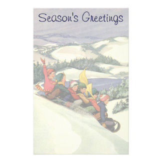 Vintage Christmas, Children Sledding on a Mountain Customised Stationery