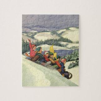 Vintage Christmas, Children Sledding on a Mountain Jigsaw Puzzle