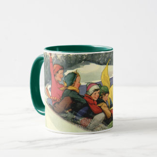 Vintage Christmas, Children Sledding on a Mountain Mug