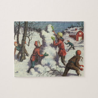 Vintage Christmas, Children Snowball Fight Jigsaw Puzzle